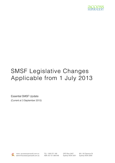 SMSF Legislative-Changes Applicable from 1